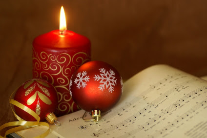 Christmas Candle and Sheet Music